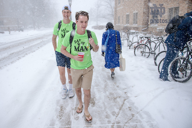 """Feb. 12, 2015; Siegfried Hall tradition """"Day of Man,"""" a fundraiser for the South Bend Center for the Homeless. Siegfried residents wear shorts and t-shirts in cold weather to show solidarity with the homeless.  The red cups are for donations. (Photo by Matt Cashore/University of Notre Dame)"""