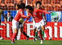Korea celebrate the goal of Hyun Young Lee..FIFA U17 Women's World Cup, USA v Korea Republic, Waikato Stadium, Hamilton, New Zealand, Sunday 9 November 2008. Photo: Renee McKay/PHOTOSPORT