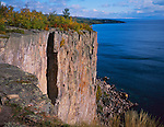 Palisade Head State Park, MN  <br /> Morning sun on the cliff face of Palisade head & Lake Superior in early fall