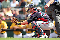 Minnesota Twins catcher Chris Herrmann #82 during a spring training game against the Pittsburgh Pirates at McKechnie Field on March 10, 2012 in Bradenton, Florida.  Minnesota defeated Pittsburgh 4-2.  (Mike Janes/Four Seam Images)