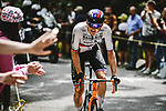 Matej Mohoric (SLO) Bahrain-Victorious from the breakaway out front alone during Stage 7 of the 2021 Tour de France, running 249.1km from Vierzon to Le Creusot, France. 2nd July 2021.  <br /> Picture: A.S.O./Pauline Ballet | Cyclefile<br /> <br /> All photos usage must carry mandatory copyright credit (© Cyclefile | A.S.O./Pauline Ballet)