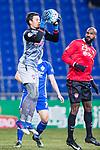 Muangthong Goalkeeper Kawin Thamsatchanan (L) in action during the AFC Champions League 2017 Group E match between  Ulsan Hyundai FC (KOR) vs Muangthong United (THA) at the Ulsan Munsu Football Stadium on 14 March 2017 in Ulsan, South Korea. Photo by Chung Yan Man / Power Sport Images