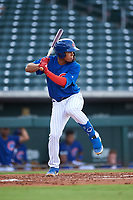 AZL Cubs 1 Fabian Pertuz (12) at bat during an Arizona League game against the AZL D-backs on July 25, 2019 at Sloan Park in Mesa, Arizona. The AZL D-backs defeated the AZL Cubs 1 3-2. (Zachary Lucy/Four Seam Images)