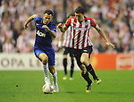Oscar de Marcos, Athletic de Bilbao(R) Ryan Giggs, Manchester United's (L) during a UEFA Europa League round of 16, second leg soccer match at the San Mames Stadium, in Bilbao, Thursday, March 15, 2012. (ALTERPHOTOS/Israel Lopez Murillo)