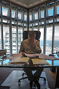Mahathir Mohamad, Malaysia's former prime minister seen working on his desk in his office in the iconic Petronas Twin Towers in Kuala Lumpur, Malaysia, on Thursday, Feb. 25, 2016.