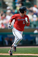 Rochester Red Wings first baseman ByungHo Park (52) runs to first base during a game against the Columbus Clippers on August 9, 2017 at Frontier Field in Rochester, New York.  Rochester defeated Columbus 12-3.  (Mike Janes/Four Seam Images)