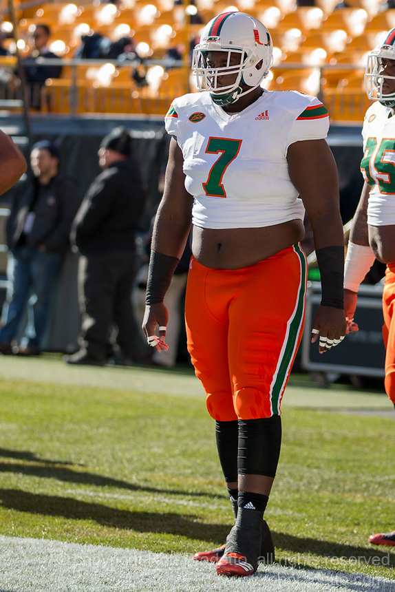 Miami Hurricanes defensive lineman Kendrick Norton. The Pitt Panthers upset the undefeated Miami Hurricanes 24-14 on November 24, 2017 at Heinz Field, Pittsburgh, Pennsylvania.