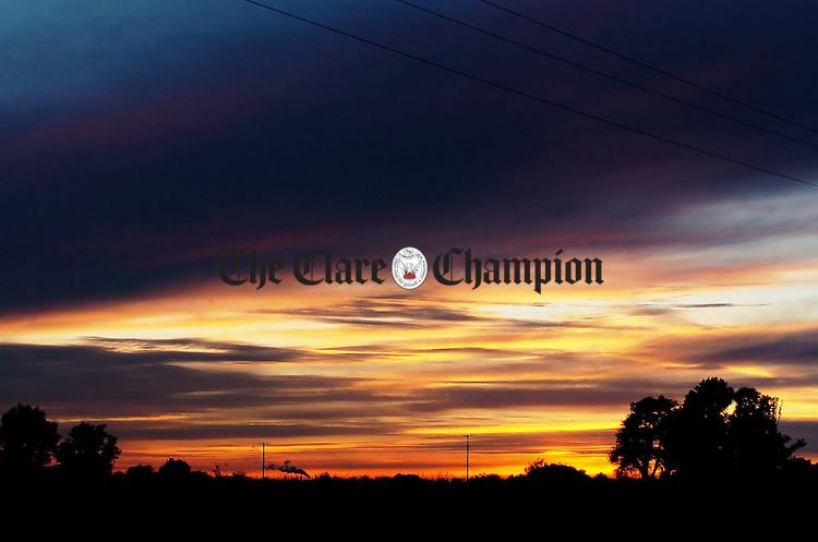 Sunset near Shannon.Pic Arthur Ellis.
