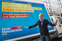 """FDP-Berlin stellt 2. Phase des Volksbegehrens """"BERLIN BRAUCHT TEGEL"""" vor.<br /> Im Wahlkampf zur Berliner  Abgeordnetenhauswahl 2016 warb die FDP damit, dass sie den innerstaedtischen Flughafen Berlin-Tegel (TXL) offen halten will. Fuer dieses Vorhaben will die Partei bis Maerz 2017 174.000 Unterschriften fuer ein berlinweites Volksbegehren sammeln.<br /> Im Bild: Der Berliner Fraktionsvorsitzende Sebastian Czaja stellte am Montag den 21. November 2016 die Kampagne vor.<br /> 21.11.2016, Berlin<br /> Copyright: Christian-Ditsch.de<br /> [Inhaltsveraendernde Manipulation des Fotos nur nach ausdruecklicher Genehmigung des Fotografen. Vereinbarungen ueber Abtretung von Persoenlichkeitsrechten/Model Release der abgebildeten Person/Personen liegen nicht vor. NO MODEL RELEASE! Nur fuer Redaktionelle Zwecke. Don't publish without copyright Christian-Ditsch.de, Veroeffentlichung nur mit Fotografennennung, sowie gegen Honorar, MwSt. und Beleg. Konto: I N G - D i B a, IBAN DE58500105175400192269, BIC INGDDEFFXXX, Kontakt: post@christian-ditsch.de<br /> Bei der Bearbeitung der Dateiinformationen darf die Urheberkennzeichnung in den EXIF- und  IPTC-Daten nicht entfernt werden, diese sind in digitalen Medien nach §95c UrhG rechtlich geschuetzt. Der Urhebervermerk wird gemaess §13 UrhG verlangt.]"""
