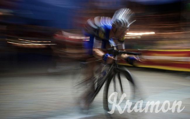 Iljo Keisse (BEL/Etixx-QuickStep) attacking in the dark<br /> <br /> Post-Tour Criterium Mechelen (Belgium) 2016