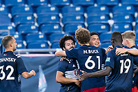 FOXBOROUGH, MA - JULY 9: Damian Rivera #72 of New England Revolution II celebrates his goal with teammates during a game between Toronto FC II and New England Revolution II at Gillette Stadium on July 9, 2021 in Foxborough, Massachusetts.