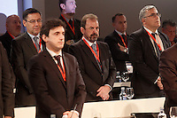 FC Barcelona's President Josep Maria Bartomeu (l) and Getafe's President Angel Torres (c) during General Assembly of the Royal Spanish Football Federation. March 22,2016. (ALTERPHOTOS/Acero)