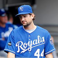 Kansas City Royals pitcher Luke Hochevar #44 during a game against the Chicago White Sox at U.S. Cellular Field on August 14, 2011 in Chicago, Illinois.  Chicago defeated Kansas City 6-2.  (Mike Janes/Four Seam Images)