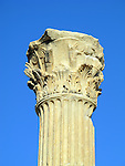 Ancient Corinthian column in the ruins of Ephesus in Turkey.