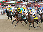 Palace Malice (no. 5), ridden by Mike Smith and trained by Todd Pletcher, wins the 50th running of the grade 2 Jim Dandy Stakes for three year olds on July 27, 2013 at Saratoga Race Course in Saratoga Springs, New York.  (Bob Mayberger/Eclipse Sportswire)