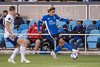SAN JOSE, CA - MAY 01: Cade Cowell #44 of the San Jose Earthquakes controls the ball during a game between San Jose Earthquakes and D.C. United at PayPal Park on May 01, 2021 in San Jose, California.