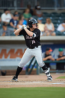Andrew Vaughn (14) of the Kannapolis Intimidators at bat against the Augusta GreenJackets at SRG Park on July 6, 2019 in North Augusta, South Carolina. The Intimidators defeated the GreenJackets 9-5. (Brian Westerholt/Four Seam Images)