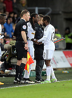 Pictured: Nathan Dyer is substituted by Marvin Emnes Saturday 10 January 2015<br /> Re: Barclays Premier League, Swansea City FC v West Ham United at the Liberty Stadium, south Wales, UK