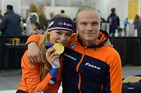 SPEEDSKATING: Salt Lake City, 15-02-2020, ISU World Single Distances Championships, Jutta Leerdam en Koen Verweij, ©foto Martin de Jong
