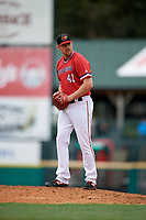 Rochester Red Wings pitcher Preston Guilmet (41) during an International League game against the Charlotte Knights on June 16, 2019 at Frontier Field in Rochester, New York.  Rochester defeated Charlotte 11-5 in the first game of a doubleheader that was a continuation of a game postponed the day prior due to inclement weather.  (Mike Janes/Four Seam Images)