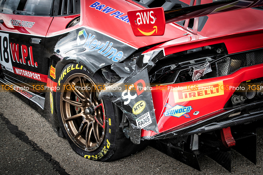 The damage sustained to Michael Igoe & Phil Keen, Lamborghini Huracan GT3 EVO, WPI Motorsport which put them out of the race on the opening lap during the British GT & F3 Championship on 11th July 2021