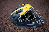 Michigan Wolverines catching helmet on May 7, 2019 at Ray Fisher Stadium in Ann Arbor, Michigan. Michigan defeated Michigan State 7-0. (Andrew Woolley/Four Seam Images)