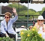 Billie Jean King waves to the crowd, Nancy Jeffet claps  at  the 2015 Induction Ceremony at the International Tennis Hall of Fame, Newport, RI USA.  The ceremony took place on July 18, 2015
