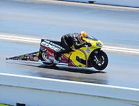 Apr. 29, 2011; Baytown, TX, USA: NHRA pro stock motorcycle rider Michael Phillips during qualifying for the Spring Nationals at Royal Purple Raceway. Mandatory Credit: Mark J. Rebilas-