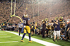 Sept. 5, 2015; Josh Adams (33) celebrates his touchdown. Notre Dame defeated Texas 38-3. (Photo by Matt Cashore)