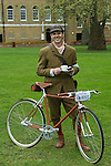 The Tweed Run London UK. Interview with Simon Harcourt,  with custom crafted leather and diamond bike.