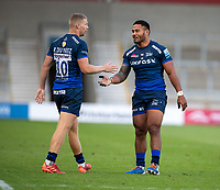 21st August 2020; AJ Bell Stadium, Salford, Lancashire, England; English Premiership Rugby, Sale Sharks versus Exeter Chiefs;  Rob du Preez of Sale Sharks and  Manu Tuilagi of Sale Sharks