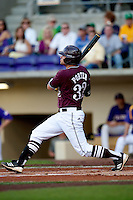 Mississippi State designated hitter Trey Porter #32 swings against the LSU Tigers during the NCAA baseball game on March 17, 2012 at Alex Box Stadium in Baton Rouge, Louisiana. The 10th-ranked LSU Tigers beat #21 Mississippi State, 4-3. (Andrew Woolley / Four Seam Images).