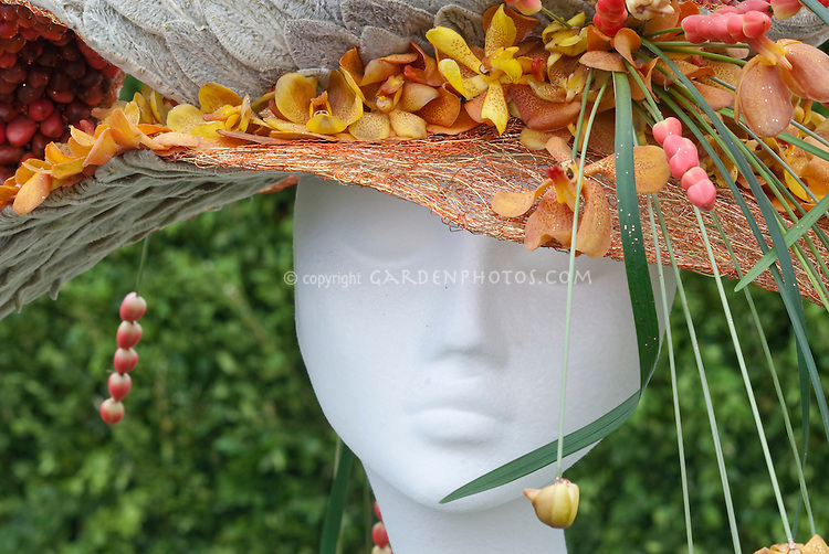 Hat Made from Orchid Flowers & Plants designed by Neil Whittaker