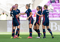 ORLANDO, FL - FEBRUARY 21: Megan Rapinoe #15 celebrates her goal with Lindsey Horan #9 of the USWNT during a game between Brazil and USWNT at Exploria Stadium on February 21, 2021 in Orlando, Florida.