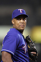Texas Rangers third baseman Adrian Beltre #29 during a game against the Los Angeles Angels at Angel Stadium on September 27, 2011 in Anaheim,California. Texas defeated Los Angeles 10-3.(Larry Goren/Four Seam Images)