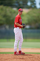 GCL Phillies East relief pitcher Taylor Lehman (56) gets ready to deliver a pitch during a game against the GCL Blue Jays on August 10, 2018 at Carpenter Complex in Clearwater, Florida.  GCL Blue Jays defeated GCL Phillies East 8-3.  (Mike Janes/Four Seam Images)