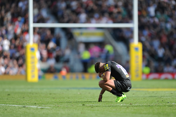Henry Slade of Exeter Chiefs shows how much it means to lose the Aviva Premiership Rugby Final between Exeter Chiefs and Saracens at Twickenham Stadium on Saturday 26th May 2018 (Photo by Rob Munro/Stewart Communications)