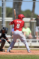 St. Louis Cardinals Steve Bean (8) during a minor league spring training game against the Miami Marlins on March 31, 2015 at the Roger Dean Complex in Jupiter, Florida.  (Mike Janes/Four Seam Images)
