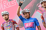 Maglia Azzurra Jonathan Caicedo (ECU) and EF Pro Cycling at sign on before the start of Stage 5 of the 103rd edition of the Giro d'Italia 2020 running 225km from Mileto to Camigliatello Silano, Sicily, Italy. 7th October 2020.  <br /> Picture: LaPresse/Massimo Paolone | Cyclefile<br /> <br /> All photos usage must carry mandatory copyright credit (© Cyclefile | LaPresse/Massimo Paolone)