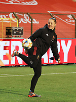 Belgian goalkeeper Diede Lemey (12) juggles the ball during the warm up before a friendly female soccer game between the national teams of Belgium , called the Red Flames and The Netherlands , called the Oranje Leeuwinnen in a pre - bid tournament called Three Nations One Goal with the national teams from Belgium , The Netherlands and Germany towards a bid for the hosting of the 2027 FIFA Women's World Cup , on Thursday 18 th of February 2021  in Brussels , Belgium . PHOTO SPORTPIX.BE | SPP | SEVIL OKTEM
