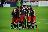WASHINGTON, DC - OCTOBER 28: D.C. United getting in the huddle during a game between Columbus Crew and D.C. United at Audi Field on October 28, 2020 in Washington, DC.