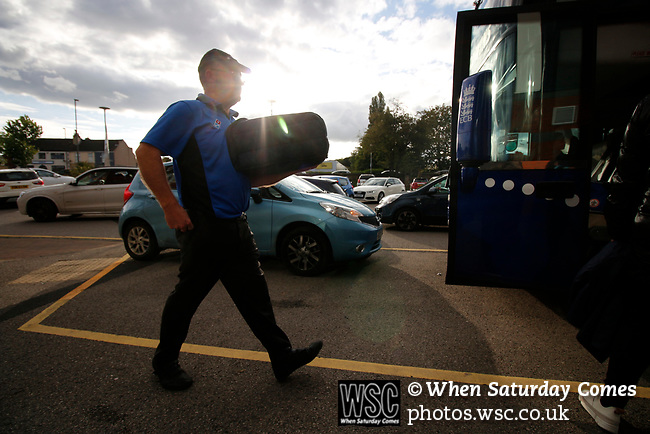 Chesterfield 1 Accrington Stanley 2, 16/09/2017. Proact Stadium, League Two. Pizza deilivery for the team coach on their journey back to Accrington.  Photo by Paul Thompson.