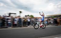 Jacopo Guarnieri (ITA/Groupama - FDJ) cheers crossing the finish line as teammate Arnaud Démare wins stage 10<br /> <br /> Stage 10: Ravenna to Modena (147km)<br /> 102nd Giro d'Italia 2019<br /> <br /> ©kramon