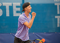 Amstelveen, Netherlands, 1 August 2020, NTC, National Tennis Center, National Tennis Championships, Men's final: Gijs Brouwer (NED) jubilates his win<br /> Photo: Henk Koster/tennisimages.com
