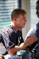 GCL Yankees East catcher Aaron Bossi (28) in the dugout during a game against the GCL Yankees West on August 3, 2016 at the Yankees Complex in Tampa, Florida.  GCL Yankees East defeated GCL Yankees West 12-2.  (Mike Janes/Four Seam Images)