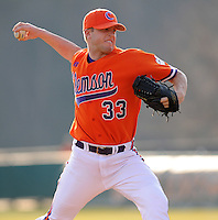 RHP Scott Weisman (33) of the Clemson Tigers in a game against the Eastern Michigan Eagles on Friday, Feb. 18, 2011, at Doug Kingsmore Stadium in Clemson, S.C. Photo by Tom Priddy / Four Seam Images