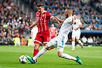 Real Madrid Karim Benzema and Bayern Munich James Rodriguez during Semi Finals UEFA Champions League match between Real Madrid and Bayern Munich at Santiago Bernabeu Stadium in Madrid, Spain. May 01, 2018. (ALTERPHOTOS/Borja B.Hojas)