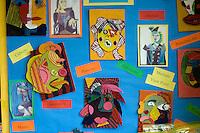 Display of student's work, Art class, state Secondary Roman Catholic School.