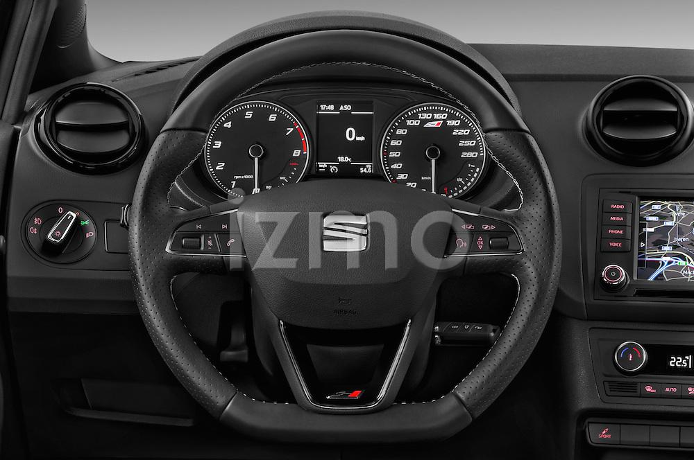 Car pictures of steering wheel view of a 2016 Seat Ibiza-SC Cupra 5 Door Hatchback Steering Wheel