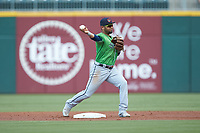 Gwinnett Braves second baseman Andres Blanco (13) turns a double play during the game against the Charlotte Knights at BB&T BallPark on July 14, 2019 in Charlotte, North Carolina.  The Stripers defeated the Knights 5-4. (Brian Westerholt/Four Seam Images)